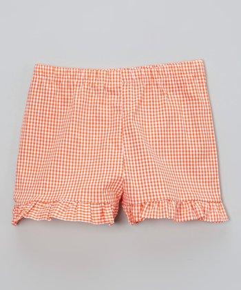 Orange Gingham Ruffle Shorts - Infant, Toddler & Girls