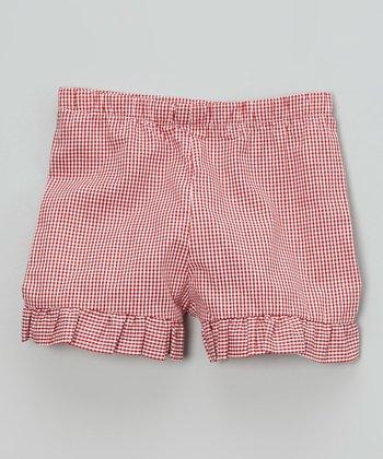 Red Gingham Ruffle Shorts - Infant, Toddler & Girls
