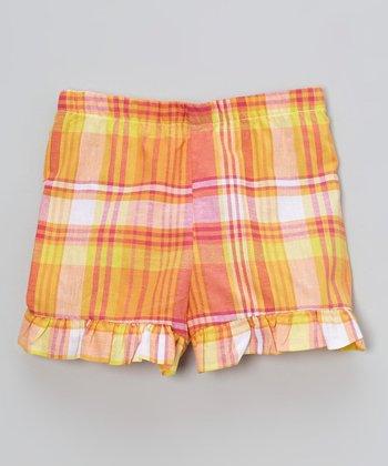 Orange Plaid Ruffle Shorts - Infant, Toddler & Girls