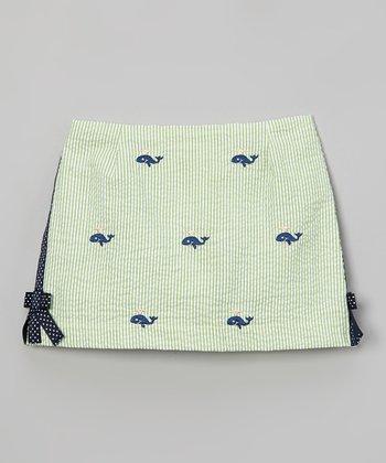 Green Whale Seersucker Skort - Toddler & Girls