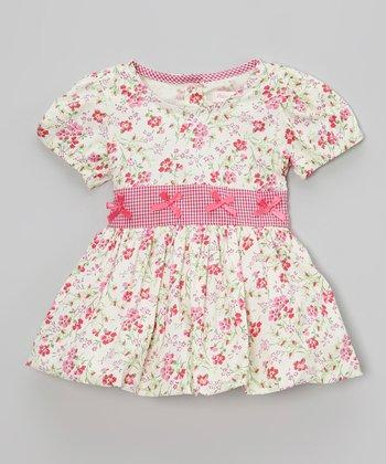 Ivory & Hot Pink Floral Dress - Infant & Toddler
