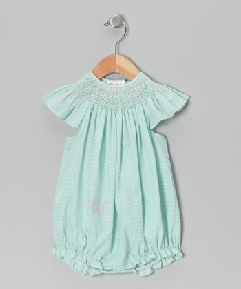 Aqua Gingham Smocked Monogram Bubble Bodysuit - Infant