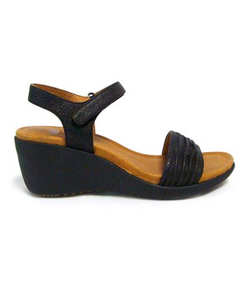 Black Malta Wedge Sandal