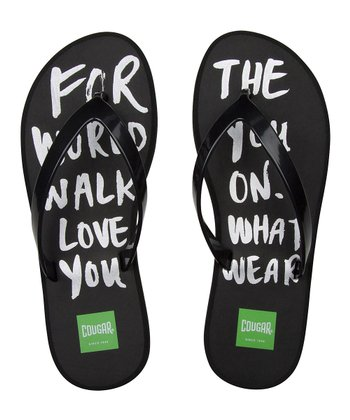 Black 'For the World' Flip-Flop