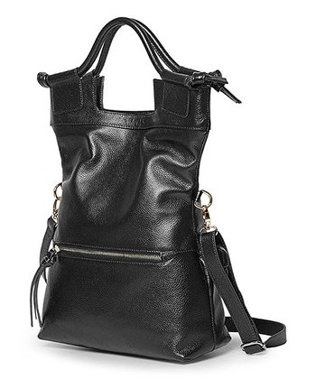 Foley & Agamo Black Candice Lou Leather Fold-Over Convertible Tote