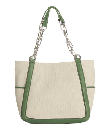 Sloane & Alex Natural & Green Ace Leather Tote