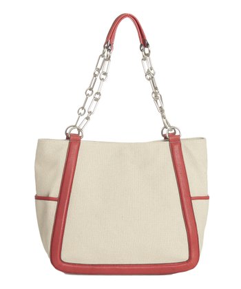 Sloane & Alex Natural & Red Ace Leather Tote