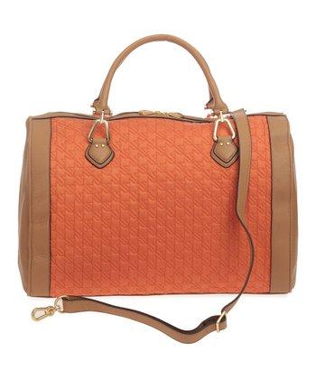 Sloane & Alex Orange Greenwich Leather Duffel Bag