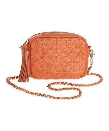 Sloane & Alex Orange Bond Quilted Leather Crossbody Bag