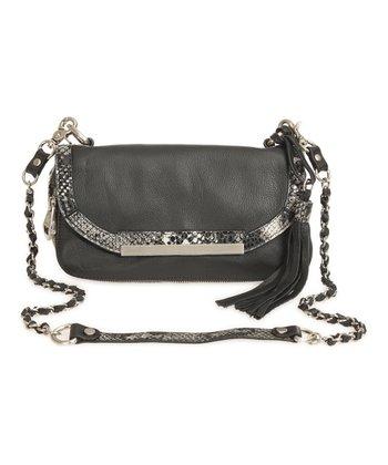 Sloane & Alex Black Sydney Leather Convertible Crossbody Bag