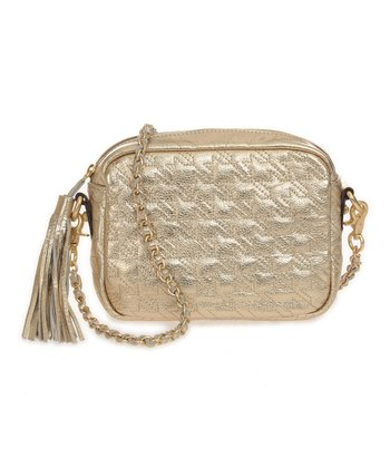 Sloane & Alex Gold Bond Quilted Leather Crossbody Bag