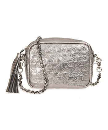 Sloane & Alex Pewter Bond Quilted Leather Crossbody Bag