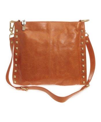 Sloane & Alex Orange Angie Leather Convertible Crossbody Bag