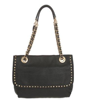Sloane & Alex Black Essex Leather Shoulder Bag