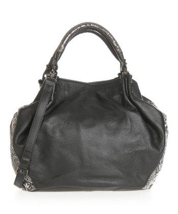 Sloane & Alex Black Isadora Leather Tote