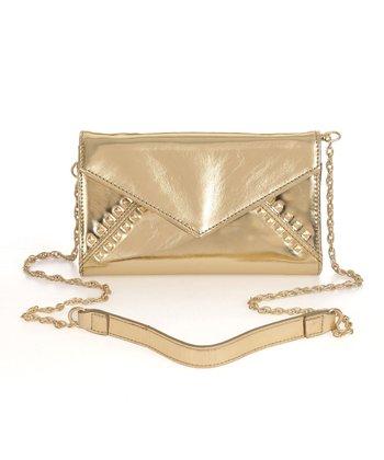 Sloane & Alex Gold Tila Leather Crossbody Bag