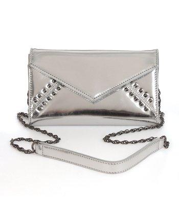 Sloane & Alex Silver Tila Leather Crossbody Bag