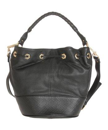 Sloane & Alex Black Sophia Leather Bucket Bag