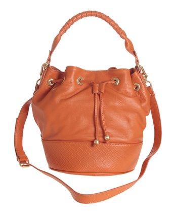Sloane & Alex Orange Sophia Leather Bucket Bag