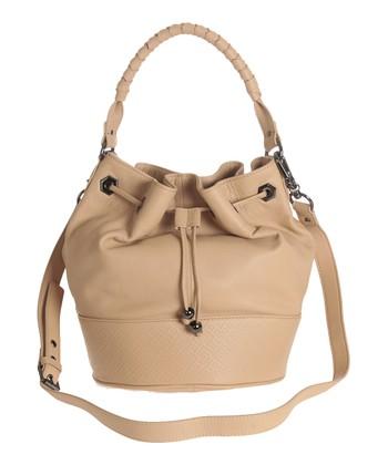 Sloane & Alex Nude Sophia Leather Bucket Bag