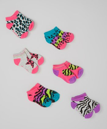 Flapdoodles Neon Pink Animal Print Sock Set