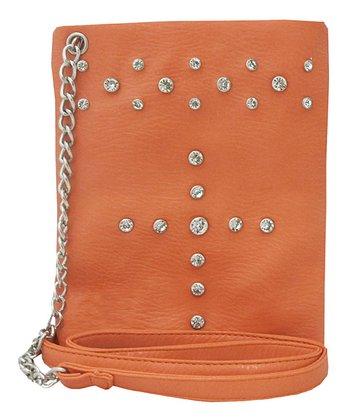 Coral Rhinestone Crossbody Bag