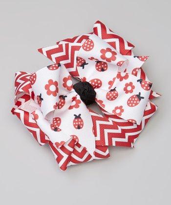 Red Ladybug & Zigzag Overlay Bow