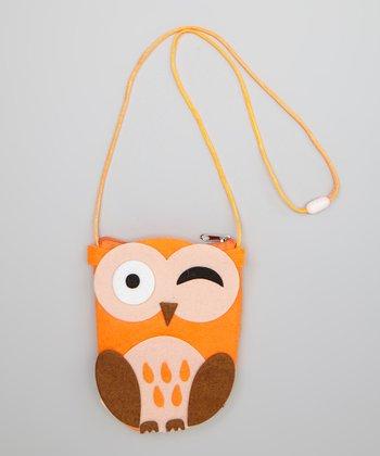 Orange & Brown Give a Hoot Coin Purse
