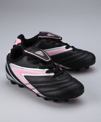 Black & Pink Verona Soccer Cleat - Kids