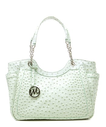 Mint Ostrich Nicole Double Handle Shoulder Bag
