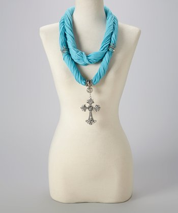 Aqua Maltese Silk-Blend Infinity Scarf