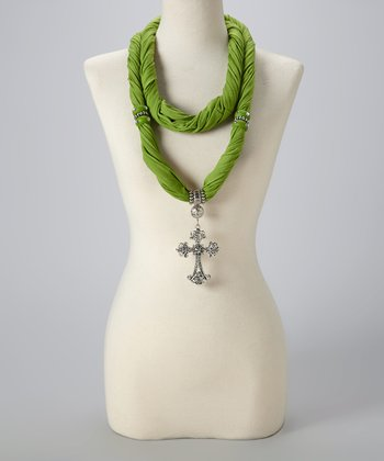 Green Maltese Silk-Blend Infinity Scarf