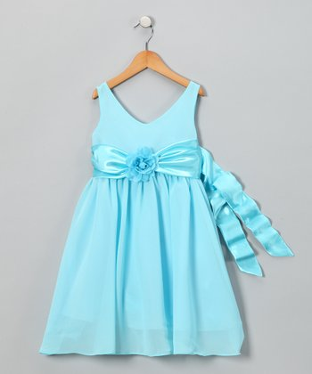 Aqua Flower Dress - Toddler & Girls