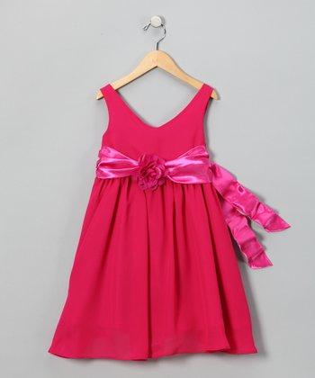 Lala & Erina Fuchsia Flower Dress - Toddler & Girls
