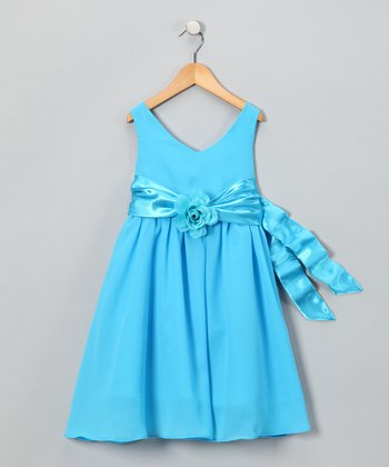 Turquoise Flower Dress - Toddler & Girls