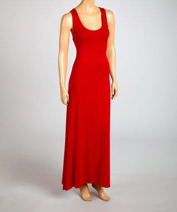 Magic Fit Red Sleeveless Maxi Dress