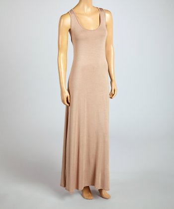 Magic Fit Khaki Sleeveless Maxi Dress