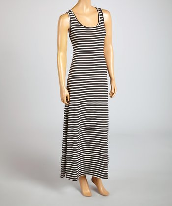 Magic Fit Black & White Stripe Sleeveless Maxi Dress