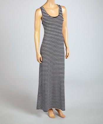 Magic Fit Black & Navy Stripe Sleeveless Maxi Dress