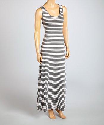 Magic Fit Gray & White Stripe Sleeveless Maxi Dress