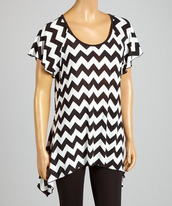 Magic Fit Black & White Zigzag Sidetail Tunic