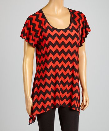 Magic Fit Coral & Black Zigzag Sidetail Tunic