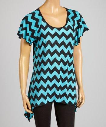 Magic Fit Jade & Black Zigzag Sidetail Tunic