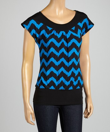ARIA FASHION USA Cobalt & Black Zigzag Cap-Sleeve Top