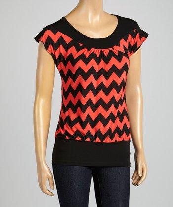 ARIA FASHION USA Coral & Black Zigzag Cap-Sleeve Top