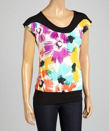 ARIA FASHION USA Yellow & Black Floral Cap-Sleeve Top