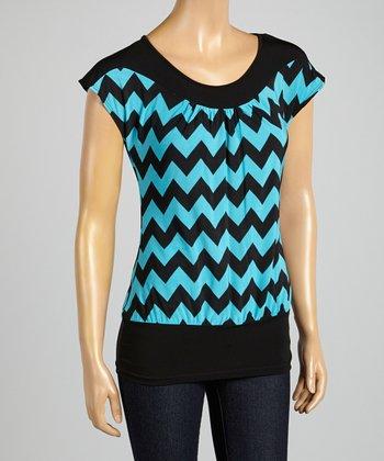 ARIA FASHION USA Mint & Black Zigzag Cap-Sleeve Top