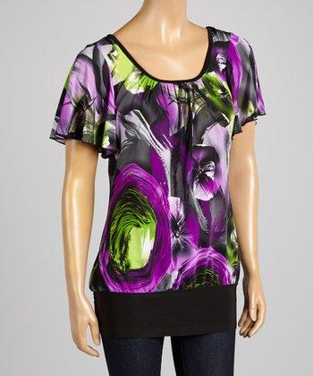 ARIA FASHION USA Purple & Black Floral Top