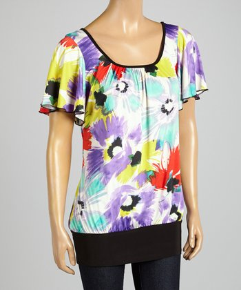 ARIA FASHION USA Purple & Red Floral Top