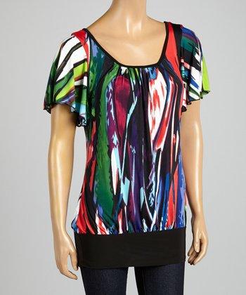 ARIA FASHION USA Black & Red Abstract Stripe Top